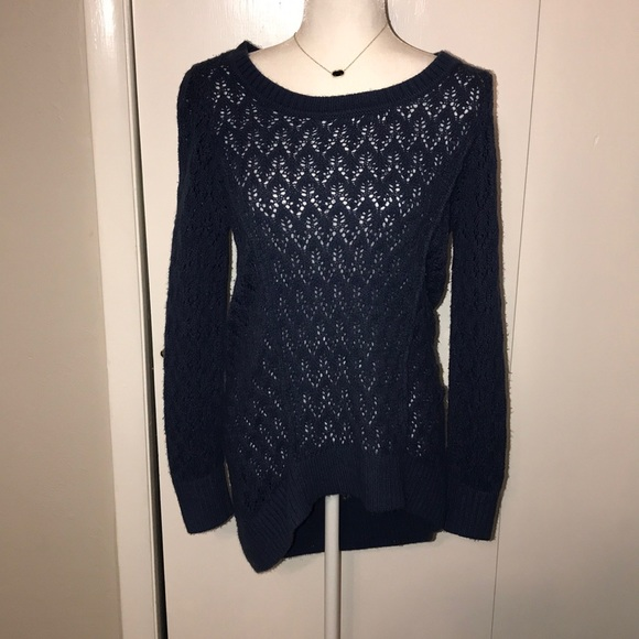 Christopher & Banks Sweaters - Blue crochet sweater. Longer in the back.